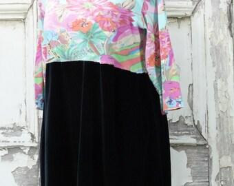 Black Velvet Tunic Dress Upcycled Clothing Wearable Art Shabby Chic Eco Fashion Xlarge