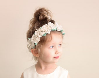 Flower girl crown, Ivory flower girl crown, Ribbon roses, Rosette floral wreath, Toddler photography prop, Flower headband - 1+ year