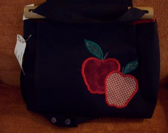 apple applique cloth purse
