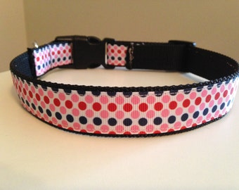 Preppy Nautical Pink, Red and Blue Large Polka Dot Dog Collar