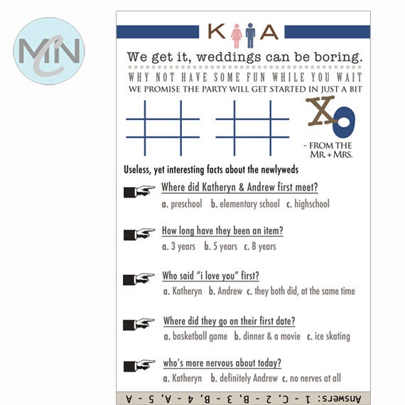Items similar to printable tic tac toe couple questionnaire design items similar to printable tic tac toe couple questionnaire design only unique diy wedding funny wedding table setting program insert on etsy junglespirit Images