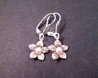 Silver Flower Earrings, White Pearl Centers, Small Dangle Earrings, FREE Shipping U.S.