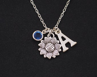 sunflower necklace, Initial necklace, birthstone necklace, silver flower charm, sister friend gift, flower girl, bridesmaids gifts, for her