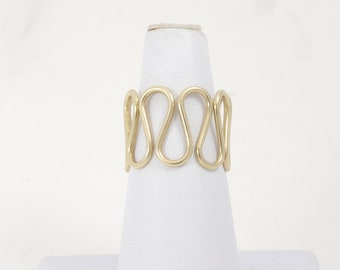 Vintage 14k Yellow Gold Italy Loop Twist Band Adjustable Size Engagement Band
