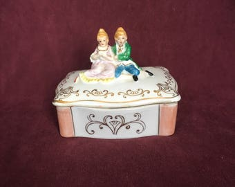Sitting Victorian Couple Trinket Box Made in Japan