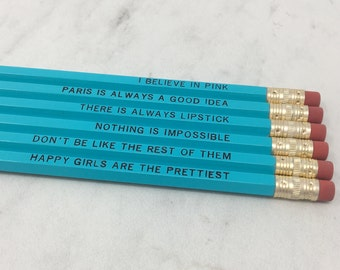 Turquoise Audrey Hepburn Pencil Set