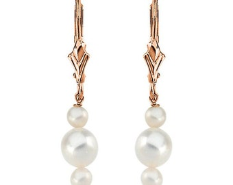 14K Rose Gold Genuine Freshwater White Pearl Vintage Style Leverback Earrings - 1 Inch Dangle Earrings - Wedding Jewelry - Gift for Her