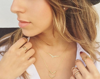 14K Gold Chevron Necklace, Layered Necklace, Delicate Necklace, Gold Layering Necklace, Arrow Necklace, Dainty Necklace, Gift For Her N275-G