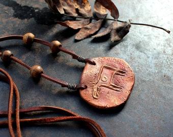 Rock art necklace, stone age necklace, shamanistic moose amulet, rustic pagan necklace, adjustable ceramic necklace, bohemian necklace