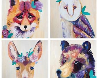 Woodland Foursome - Set of four prints