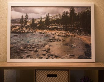 24 x 36 in Framed Photo Of A Beach in Lake Tahoe