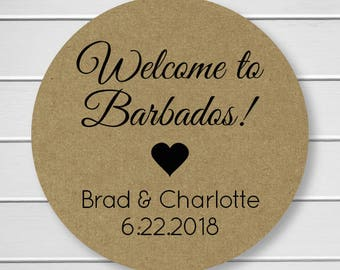 Wedding Welcome Stickers, Kraft Color Names and Date Wedding Sticker, Welcome Wedding Date Stickers, Wedding labels (#056-KR)