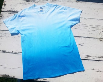 Turquoise Ombre // T-Shirt // Hand Dyed