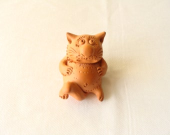 Clay Cat/ Cat Figurine/ Clay Animal Figurine/ Cat/ Doll House Cat/ Home Decor