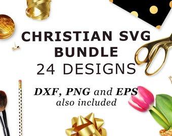 Christian SVG bundle Bible verse SVG files set SVG cricut designs Iron on svg Bundle files for cut Svg Sale 90% off 24 designs eps png dxf