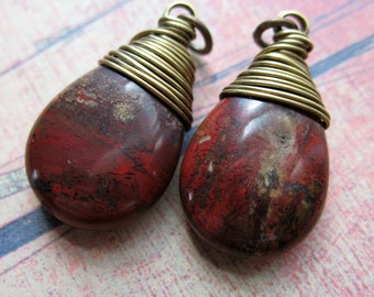 Red River Jasper Briolette Charms in Antiqued Brass - 1 pair - 25mm in length
