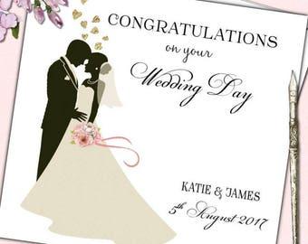 Personalised Wedding Day Congratulations Card Bride Groom