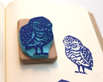 Grumpy Owl rubber stamp, hand carved, wood mounted