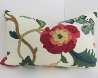 12x20 Pillow lumbar - Red Teal Green Cream Ivory Yellow Pillow Lumbar -Pillow Lumbar Cover- Bird Pillow Cover- Accent bedding- Accent Bed