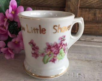 Vintage Child's Shaving Mug, China Drinking Cup, Victorian Violets, Little Shaver Mug, Baby Boy Gift, Cottage Decor