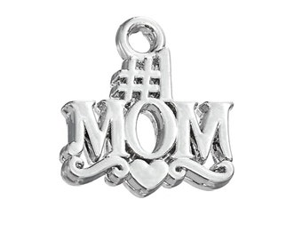 3 #1 Mom Charms, Antique Silver Tone (1K-118)
