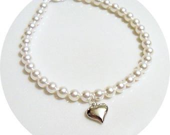 Heart Anklet, Bridal Anklet, Pearl Anklet, Bridal Accessories, Heart Jewelry, Wedding Anklet, Pearl Ankle Bracelet