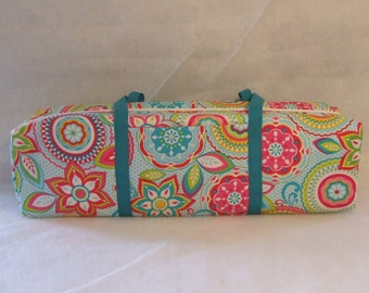 Silhouette Cameo  3 Carrying Case / Cricut Explore Air Carrying Case / Bright Medallion Print Fabric with turquoise strapping