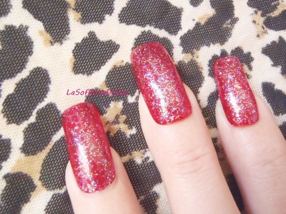 fake nails red glitter squoval nail art false nails drag queen