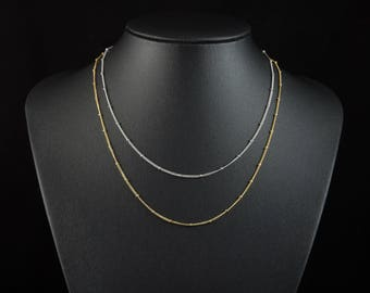 Simple Satellite Chain Necklace, Dainty Layering Chain Necklace, Choose Your Length, Gold Or Silver