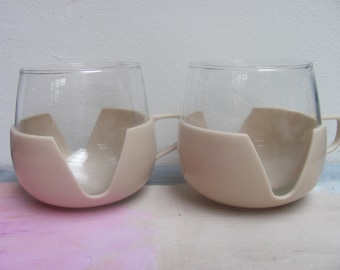 two midcentury teaglasses, sixties, glass and plastic