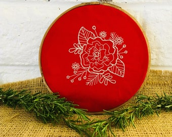 Christmas White-work Hoop Embroidery