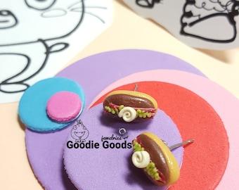 Chocolate Bun Earrings, Handmade Resin Earrings