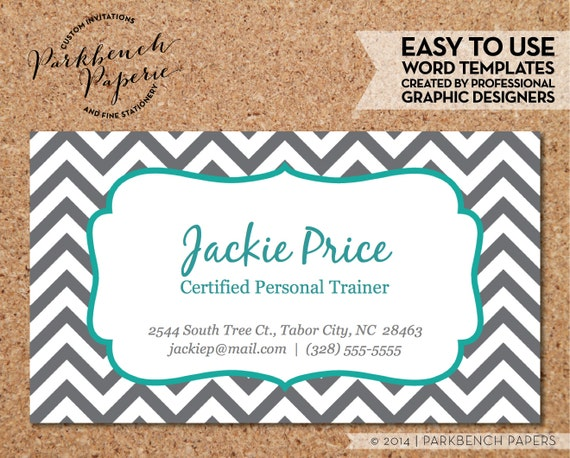 Items similar to business card template gray chevron teal frame items similar to business card template gray chevron teal frame diy editable word template instant download printable on etsy wajeb Gallery