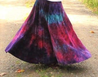 Velour Maxi Skirt - Bamboo Velour Skirt - Full Skirt- Tie Dye Maxi Skirt - Rainbow Skirt - MADE TO ORDER