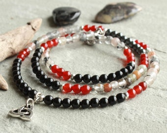 Carnelian Rutile Quartz Black Onyx Hematite Beaded Necklace, Silver Celtic Knot Charm, multi wrap bracelet jewelry gift for her, 4614