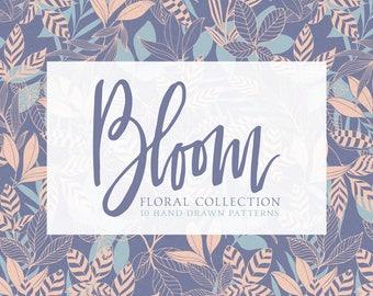 Bloom Floral Collection Digital Scrapbook Papers  - 10 Seamless Floral Patterns, Pastel Spring Papers - 300dpi JPG - Instant Download