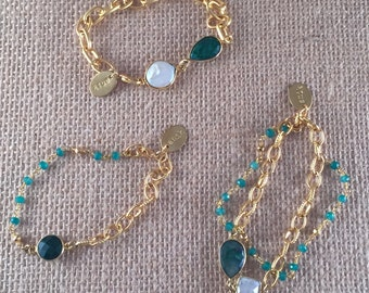 Link Chain Bracelet, Emerald and pearl , Gemstone, 22K Goldplated, Birthstone, Stackable, SINTRA