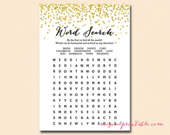 Word search game, word search quiz, bridal shower Word search game, Gold Confetti Bridal Shower, Bachelorette, Wedding Shower BS46