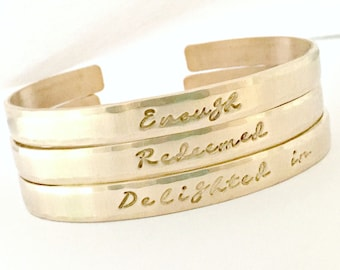 Personalized Gold Bracelet - Stacking Skinny Cuff - Hand Stamped Inspirational, Motivational, My Word, Religious Jewelry Gift Idea for Her