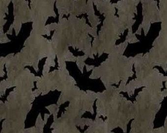 Halloween Bats - Come Sit a Spell from Wilmington Prints - Full or Half Yard Black Bats on Taupe/Charcoal