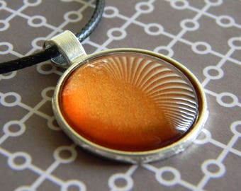 Mango Madness Dark Orange Nail Polish Glass Gem Circle Pendant Silver Tray Black Cord