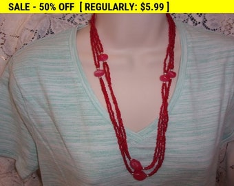 Vintage long red seed bead necklace, hippie, boho, bohemian jewelry
