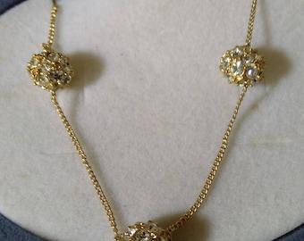 Vintage Pave Gold Tone & Diamante Necklace - Boxed