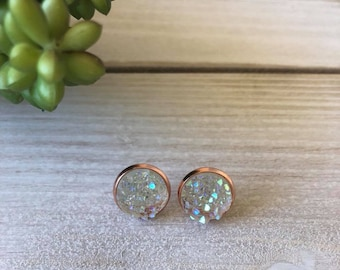 12mm Clear Druzy in a Rose Gold Setting