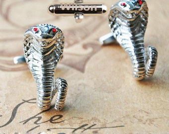 personalizedCobra Snake Cufflinks,Best Man Gift,fathers day present,Boss Gift Ideas,Name or Initials,designer tie clip,anniversary gift