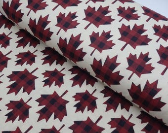 "Buffalo Plaid Maple Leaf Flannel, Lumberjack Plaid Leaves, Canadian Maple Leaf, 100% Cotton, 42"" Wide - by the half yard"