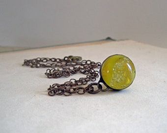 Glass Marble Necklace Yellow Mustard One of a Kind Jewelry