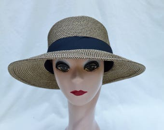Black Brown Tweed Straw Hat With Black Ribbon Band / Larger Head Sizes Available / Crushable Lampshade Brim Sun Hat / Med. LG, XL & XXL