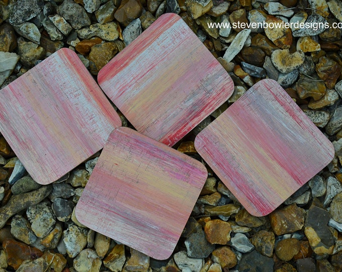 FREE UK SHIPPING Set of 4 Handcrafted Beach Style Coffee Table Natural Wood Coasters Hand Painted in Multicoloured Ocean Sunset Theme