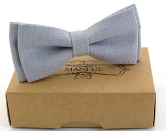 Blue  bow tie, wedding bow tie, linen necktie,  groomsmen necktie ,blue bow tie for men